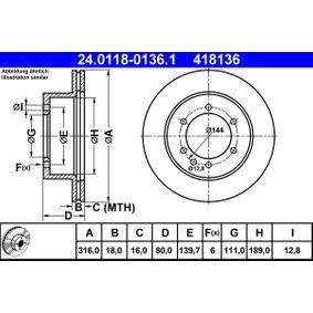 Composants Boite De Vitesse NISSAN PATROL GR I (Y60, GR) 4.2 CAT de Année 11.1988 165 CH: Disque de frein (24.0118-0136.1) pour des ATE