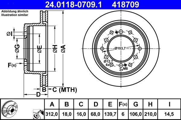 ATE  24.0118-0709.1 Disque de frein Épaisseur du disque de frein: 18,0mm, Nbre de trous: 6, Ø: 312,0mm