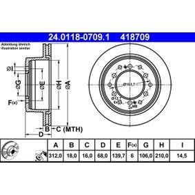 Disque de frein Épaisseur du disque de frein: 18,0mm, Nbre de trous: 6, Ø: 312,0mm avec OEM numéro 42431-60200