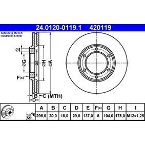 Composants Boite De Vitesse NISSAN PATROL GR I (Y60, GR) 4.2 CAT de Année 11.1988 165 CH: Disque de frein (24.0120-0119.1) pour des ATE