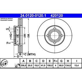 ATE Bremsscheibe 24.0120-0120.1 für AUDI 80 (81, 85, B2) 1.8 GTE quattro (85Q) ab Baujahr 03.1985, 110 PS