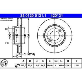 ATE  24.0120-0131.1 Bremsscheibe Bremsscheibendicke: 20,4mm, Lochanzahl: 4, Ø: 247,0mm