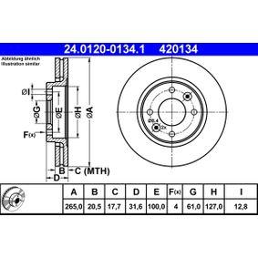 ATE  24.0120-0134.1 Bremsscheibe Bremsscheibendicke: 20,5mm, Lochanzahl: 4, Ø: 265,0mm