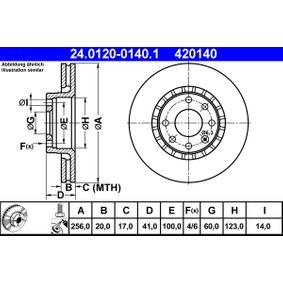 ATE  24.0120-0140.1 Bremsscheibe Bremsscheibendicke: 20,0mm, Lochanzahl: 4, Ø: 256,0mm
