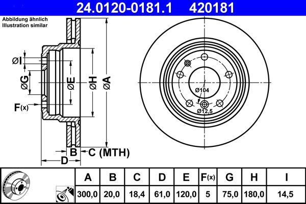 ATE  24.0120-0181.1 Disco de freno Espesor disco freno: 20,0mm, Núm. orificios: 5, Ø: 300,0mm