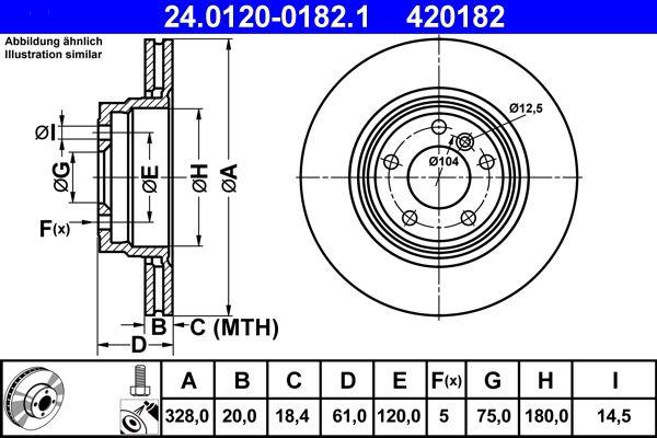 ATE  24.0120-0182.1 Bremsscheibe Bremsscheibendicke: 20,0mm, Lochanzahl: 5, Ø: 328,0mm