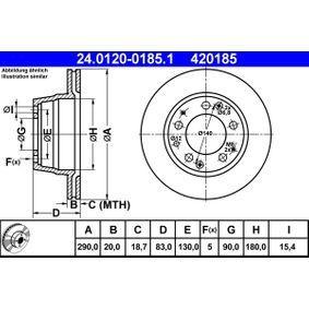 ATE  24.0120-0185.1 Bremsscheibe Bremsscheibendicke: 20,0mm, Lochanzahl: 5, Ø: 290,0mm