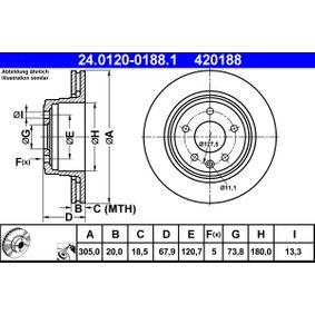 ATE  24.0120-0188.1 Bremsscheibe Bremsscheibendicke: 20,0mm, Lochanzahl: 5, Ø: 305,0mm