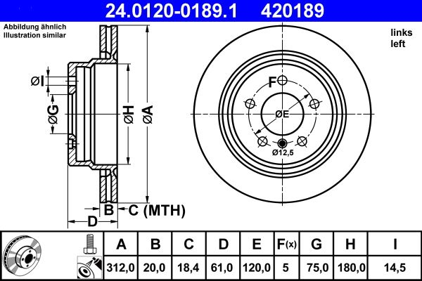 ATE  24.0120-0189.1 Bremsscheibe Bremsscheibendicke: 20,0mm, Lochanzahl: 5, Ø: 312,0mm