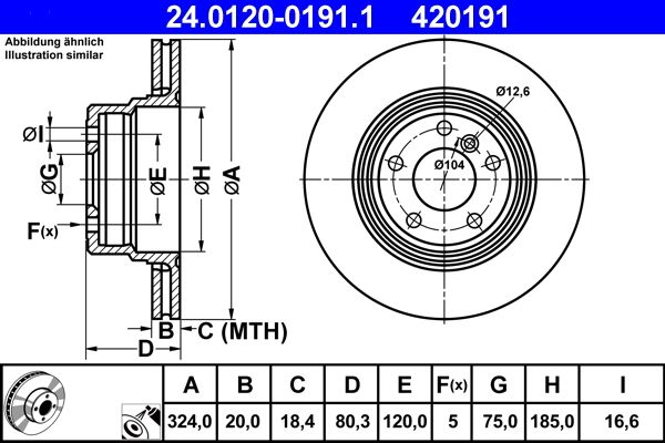 ATE  24.0120-0191.1 Bremsscheibe Bremsscheibendicke: 20,0mm, Lochanzahl: 5, Ø: 324,0mm