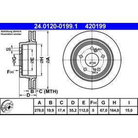 ATE  24.0120-0199.1 Bremsscheibe Bremsscheibendicke: 19,9mm, Lochanzahl: 5, Ø: 278,0mm