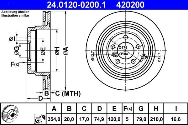 ATE  24.0120-0200.1 Bremsscheibe Bremsscheibendicke: 20,0mm, Lochanzahl: 5, Ø: 354,0mm