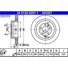 Disco freno (24.0120-0201.1) per per Termostato LAND ROVER RANGE ROVER SPORT (LS) 3.0 TD V6 4x4 dal Anno 05.2010 211 CV di ATE
