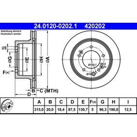 ATE  24.0120-0202.1 Bremsscheibe Bremsscheibendicke: 20,0mm, Lochanzahl: 5, Ø: 315,0mm