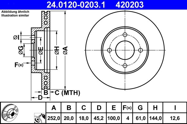 ATE  24.0120-0203.1 Bremsscheibe Bremsscheibendicke: 20,0mm, Lochanzahl: 4, Ø: 252,0mm