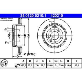 ATE  24.0120-0210.1 Bremsscheibe Bremsscheibendicke: 20,0mm, Lochanzahl: 5, Ø: 325,0mm