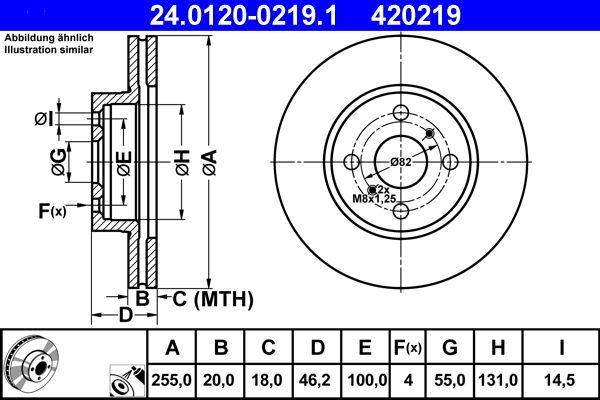 ATE  24.0120-0219.1 Bremsscheibe Bremsscheibendicke: 20,0mm, Lochanzahl: 4, Ø: 255,0mm