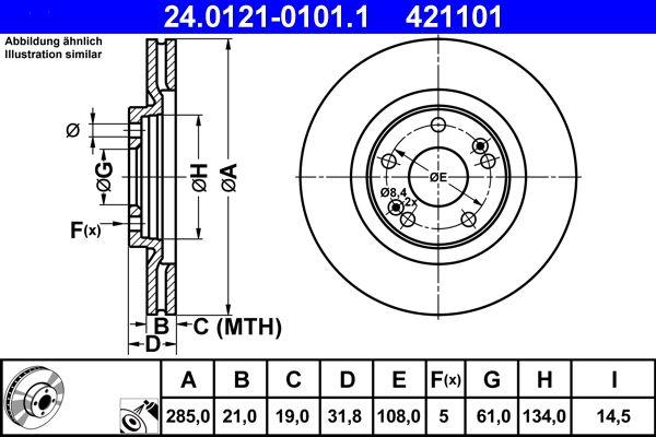 ATE  24.0121-0101.1 Bremsscheibe Bremsscheibendicke: 21,0mm, Lochanzahl: 5, Ø: 285,0mm