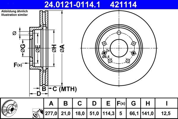 ATE  24.0121-0114.1 Bremsscheibe Bremsscheibendicke: 21,0mm, Lochanzahl: 5, Ø: 277,0mm