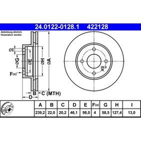 Bremsscheibe Bremsscheibendicke: 22,0mm, Lochanzahl: 4, Ø: 239,2mm mit OEM-Nummer 60 514 881