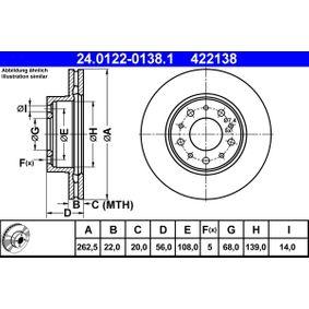 Tarcza hamulcowa Artykuł № 24.0122-0138.1 380,00PLN