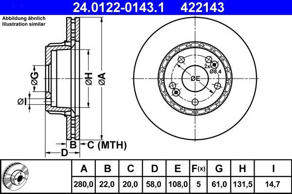 ATE  24.0122-0143.1 Bremsscheibe Bremsscheibendicke: 22,0mm, Lochanzahl: 5, Ø: 280,0mm