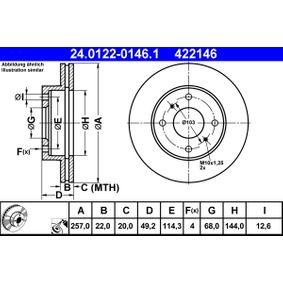 ATE  24.0122-0146.1 Bremsscheibe Bremsscheibendicke: 22,0mm, Lochanzahl: 4, Ø: 257,0mm