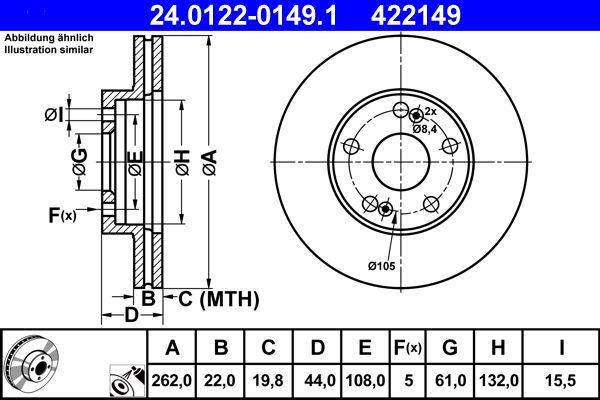 ATE  24.0122-0149.1 Bremsscheibe Bremsscheibendicke: 22,0mm, Lochanzahl: 5, Ø: 262,0mm