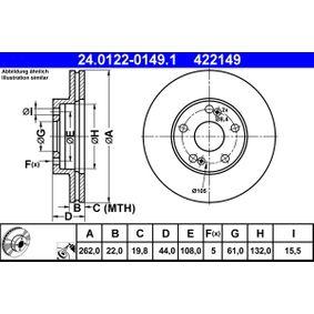Bremsscheibe Bremsscheibendicke: 22,0mm, Lochanzahl: 5, Ø: 262,0mm mit OEM-Nummer 77 01 205 841