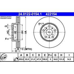 ATE  24.0122-0154.1 Bremsscheibe Bremsscheibendicke: 22,0mm, Lochanzahl: 5, Ø: 255,0mm