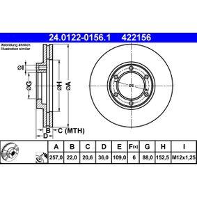 Bremsscheibe Bremsscheibendicke: 22,0mm, Lochanzahl: 6, Ø: 257,0mm mit OEM-Nummer 8 94172 376 1