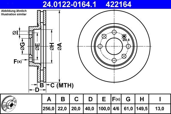 ATE  24.0122-0164.1 Bremsscheibe Bremsscheibendicke: 22,0mm, Lochanzahl: 4, Ø: 256,0mm