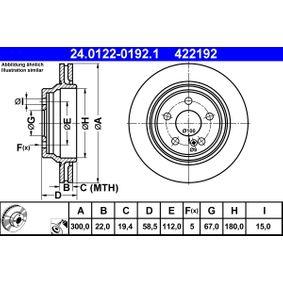 Bremsscheibe Bremsscheibendicke: 22,0mm, Lochanzahl: 5, Ø: 300,0mm mit OEM-Nummer 220 423 0212