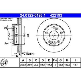 Bomba de Inyección NISSAN SERENA (C23M) 2.3 D de Año 01.1995 75 CV: Disco de freno (24.0122-0193.1) para de ATE