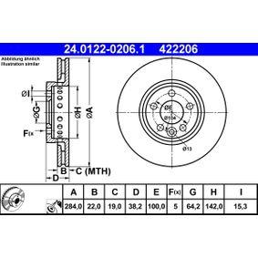 Disco freno (24.0122-0206.1) per per Pezzo per Bloccaggio ROVER 75 (RJ) 1.8 dal Anno 02.1999 120 CV di ATE