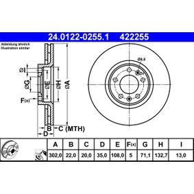 Bremsscheibe Bremsscheibendicke: 22,0mm, Lochanzahl: 5, Ø: 302,0mm mit OEM-Nummer 96 879 907 80