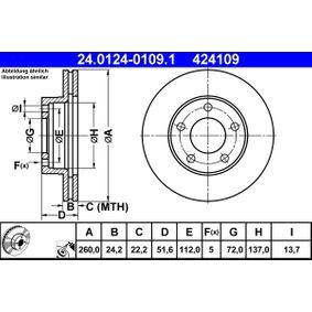 ATE Bremsscheibe 24.0124-0109.1 für FORD SCORPIO I (GAE, GGE) 2.9 i ab Baujahr 09.1986, 145 PS