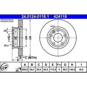 Motorhalter für VW TRANSPORTER IV Bus (70XB, 70XC, 7DB, 7DW) 2.5 TDI 102 PS ab Baujahr 09.1995 ATE Bremsscheibe (24.0124-0118.1) für