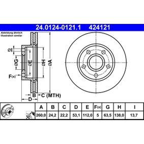 ATE Bremsscheibe 24.0124-0121.1 für FORD SCORPIO I (GAE, GGE) 2.9 i ab Baujahr 09.1986, 145 PS