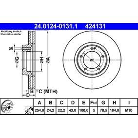 Bremsscheibe Bremsscheibendicke: 24,2mm, Lochanzahl: 5, Ø: 254,0mm mit OEM-Nummer 5029815