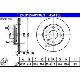 Disco freno 24.0124-0136.1 SAPPORO 3 (E16A) 2.4 ac 1990