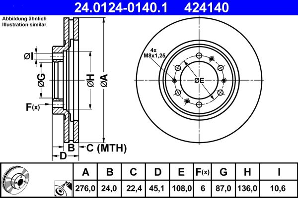 ATE  24.0124-0140.1 Brake Disc Brake Disc Thickness: 24,0mm, Num. of holes: 6, Ø: 276,0mm