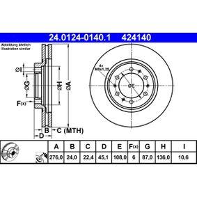 Brake Disc Brake Disc Thickness: 24,0mm, Num. of holes: 6, Ø: 276,0mm with OEM Number MR129648