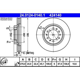Brake Disc Brake Disc Thickness: 24,0mm, Num. of holes: 6, Ø: 276,0mm with OEM Number MB 928 697