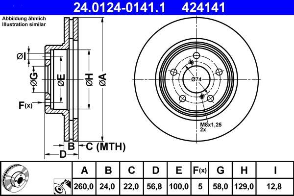 ATE  24.0124-0141.1 Bremsscheibe Bremsscheibendicke: 24,0mm, Lochanzahl: 5, Ø: 260,0mm