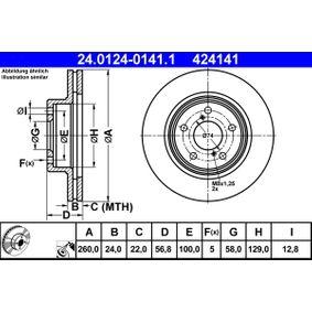 Bremsscheibe Bremsscheibendicke: 24,0mm, Lochanzahl: 5, Ø: 260,0mm mit OEM-Nummer 26310AA031