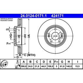 Pulseur d'Air et Composants RENAULT SAFRANE II (B54_) 2.2 dT (B54G) de Année 07.1996 113 CH: Disque de frein (24.0124-0171.1) pour des ATE