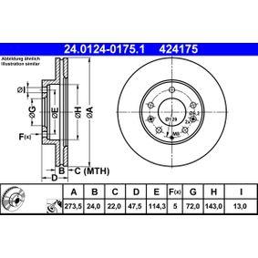 ATE  24.0124-0175.1 Bremsscheibe Bremsscheibendicke: 24,0mm, Lochanzahl: 5, Ø: 273,5mm