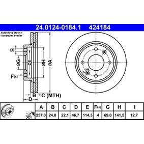 ATE  24.0124-0184.1 Bremsscheibe Bremsscheibendicke: 24,0mm, Lochanzahl: 4, Ø: 257,0mm
