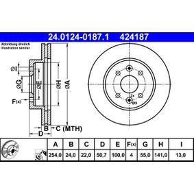 ATE  24.0124-0187.1 Bremsscheibe Bremsscheibendicke: 24,0mm, Lochanzahl: 4, Ø: 254,0mm